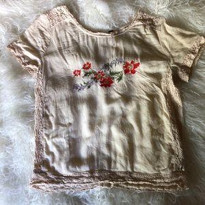 Free People Embroidered Boho Crochet Tee